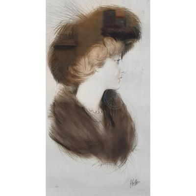 Large Drypoint In Color By Helleu