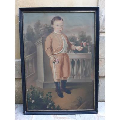 Grand Portrait d'Enfant  Sicile Début 19eme