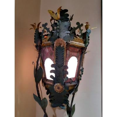 Polychrome Italian Lantern In Painted Tole 18th