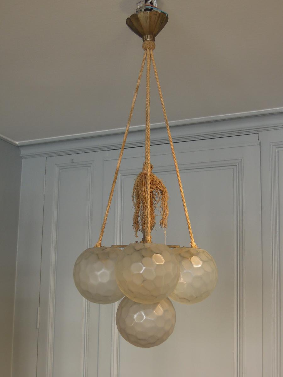 Lustre Art Déco à 5 boules en verre dépoli de Genet & Michon