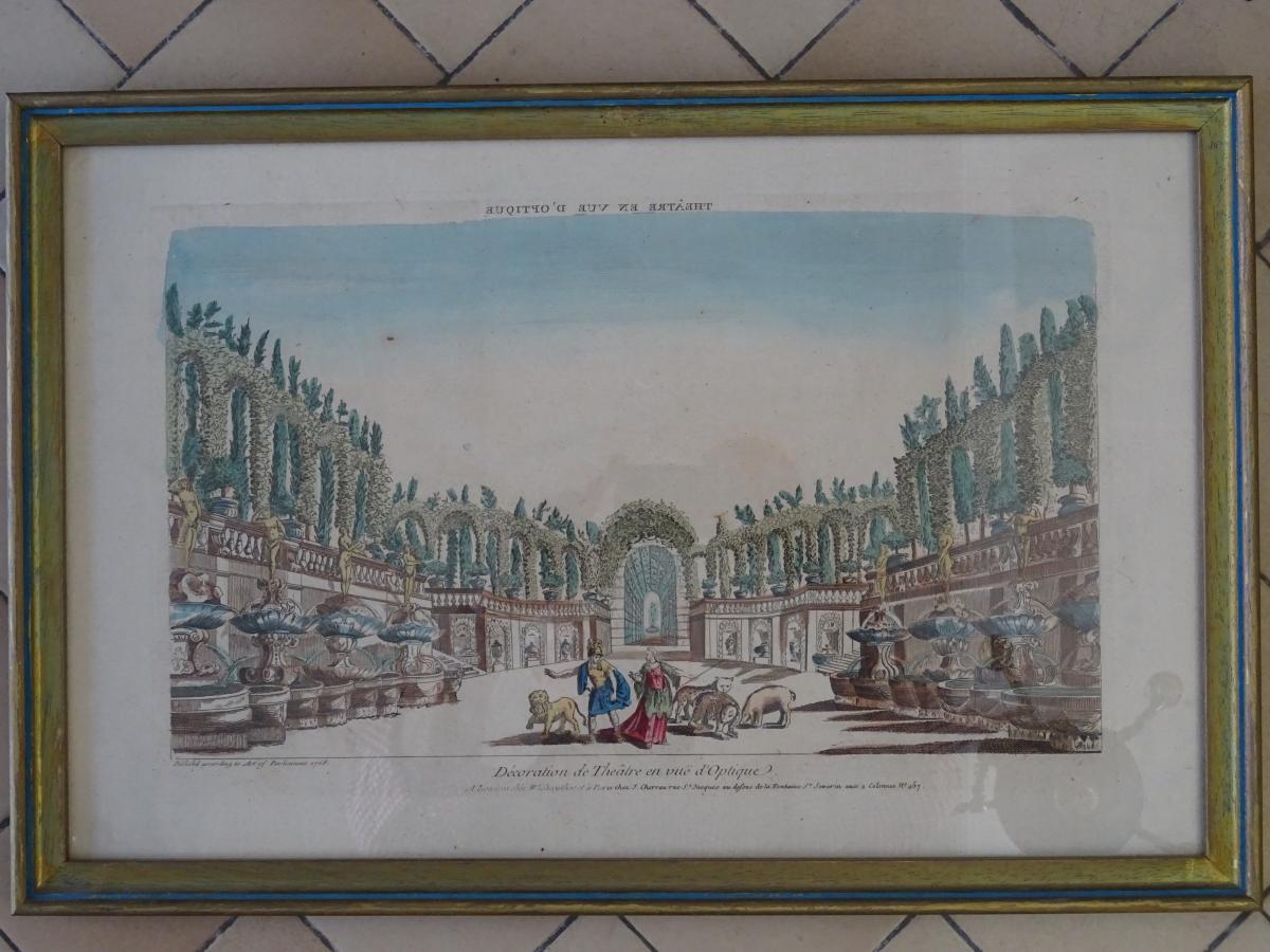 Vue d'optique encadrée d'un Théatre XVIIIème