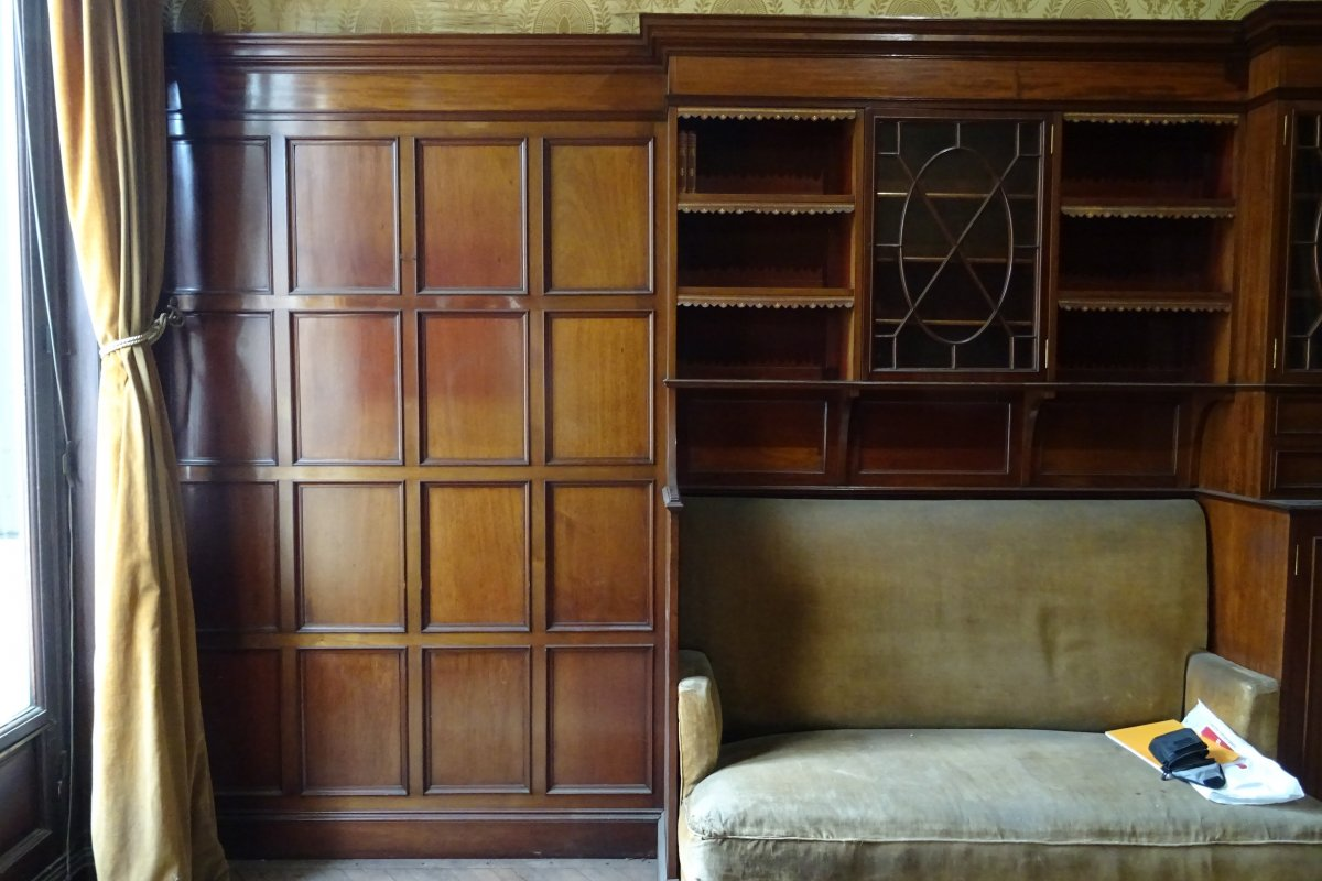 Woodwork And Bookcases In Solid Mahogany From Soubrier 1895