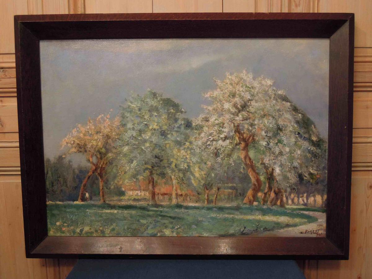 Huile sur toile : verger et ferme de P. Forest