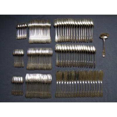 Sterling Silver Cutlery Set Lapar 18 Guests 125 Pieces 8.1 Kg