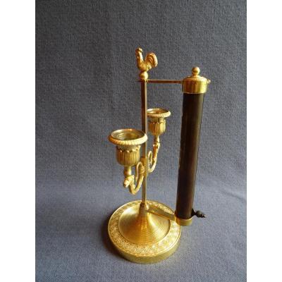 Bougeoir éventail en bronze ciselé et doré