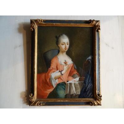 Fixé sous verre XVIII Portrait de jeune femme