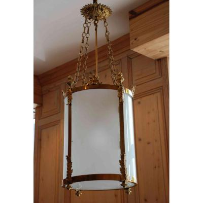 Grande lanterne ronde en verre dépoli Napoléon III
