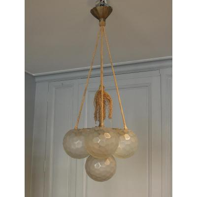 Art Deco Five-ball Frosted Glass Chandelier By Genet & Michon