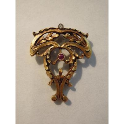Passant ou anneau de foulard Art Nouveau en or massif