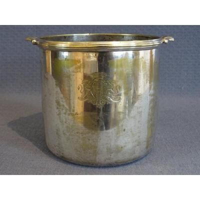Rafraîchissoir armorié en métal plaqué d'argent XVIII ème