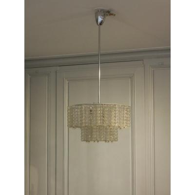Vintage Austrolux (austria) Chandelier From The 50s In Glass And Chrome