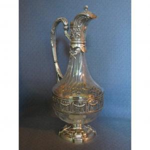 Aiguière de style Louis XVI en cristal et argent massif