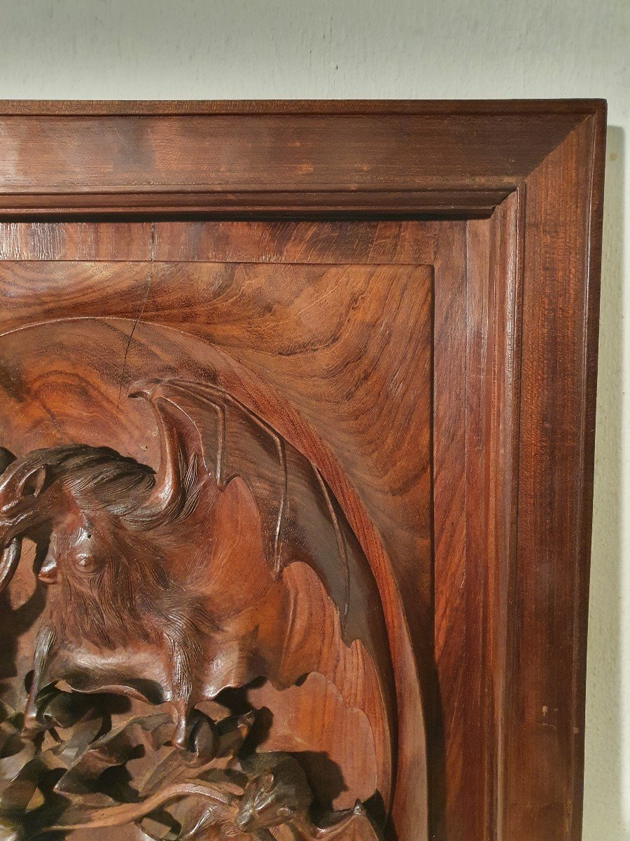 Panneau En Bois Sculpté. Indochine Vers 1900. Décor Chauves-souris-photo-1