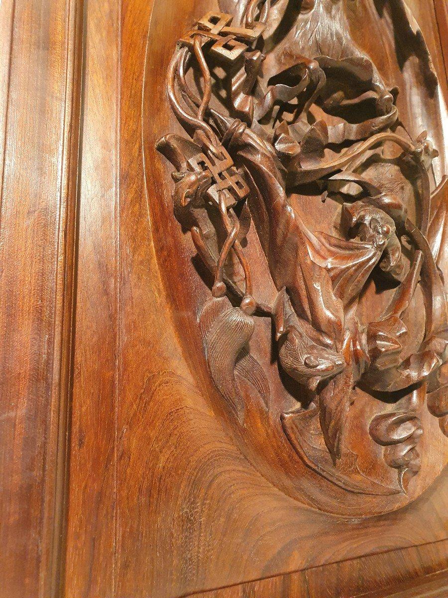 Panneau En Bois Sculpté. Indochine Vers 1900. Décor Chauves-souris-photo-3