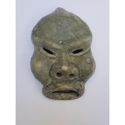 Masque Asiatique En Terre Cuite