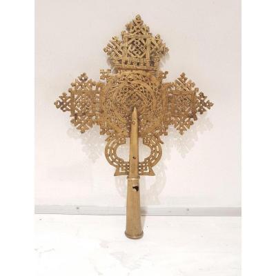 Croix Copte De Procession En Bronze. Fin 19ème/début 20ème