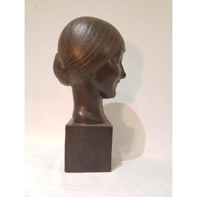 Bust Of Young Woman In Terracotta Patina Signed L. Doré Dated 1924. Edition Susse