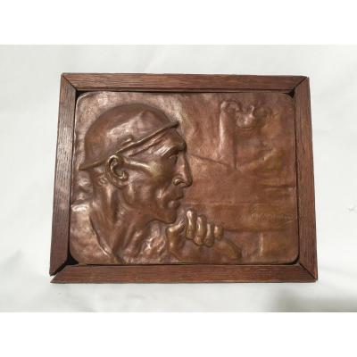 Constantin Meunier - Bas Relief / Plaque Encadrée Mineur. Signé. Début 20ème
