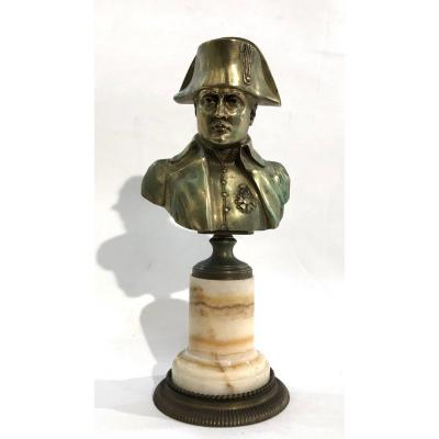 Napoleon: Bronze Bust With Mordorée Patina On Marble Base - End Of The XIXth C.