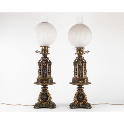 Very Beautiful Pair Of Oil Lamp In Bronze - Pedestal Making Office Empty Pocket - Napiii