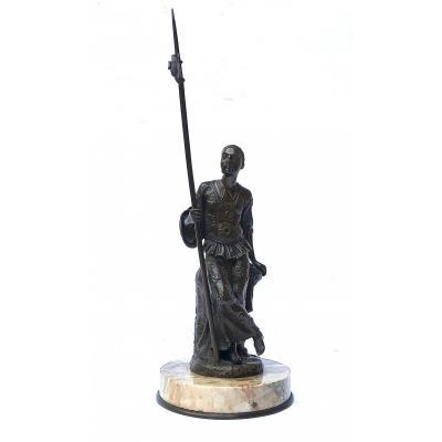 Sculpture En Bronze D'un Guerrier Asiatique Fin XIXe Siècle - Chine ?