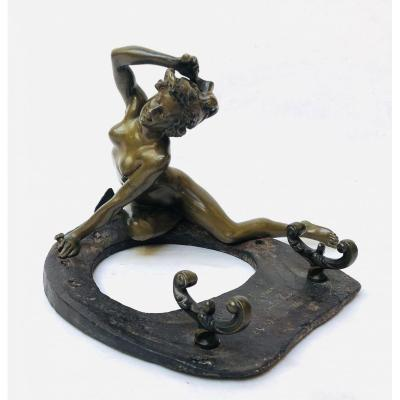 Georges Récipon: La Fortune - Bronze Sculpture With Double Patina Dedicated Unique Piece -1906