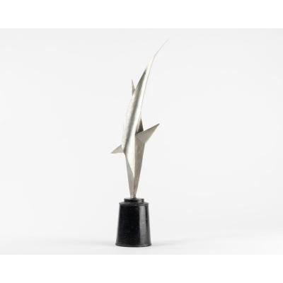 Nino Franchina (1912-1988) Abstract Sculpture Signed Dated 54. Silver & Black Lacquered Metal