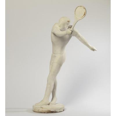 Ferdinandparpan(1902-2004) « Tennisman Au Revers». Plâtre d'Atelier. Vers 1960