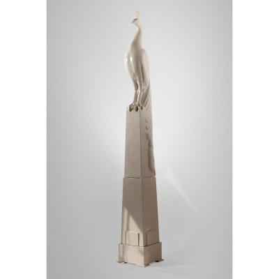 Alphonse Darville (1910-1990) - Paon - Très Grand Plâtre d'Atelier émaillé. Période Art Déco