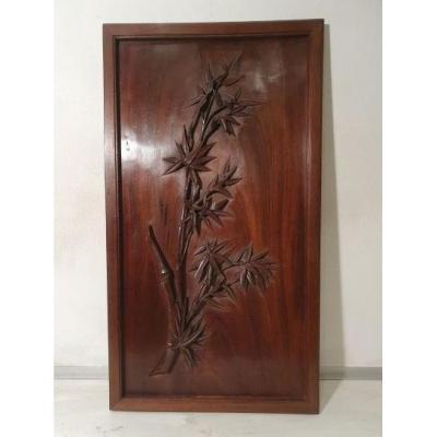 Panneau En Bois Sculpté. Décor Aux Bambous. Indochine, Vers 1900.