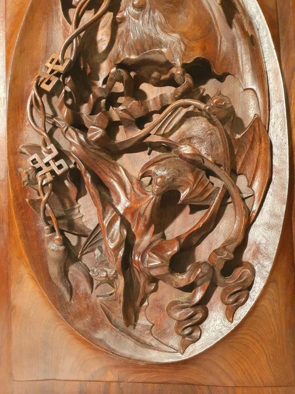 Panneau En Bois Sculpté. Indochine Vers 1900. Décor Chauves-souris-photo-2