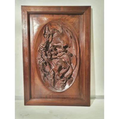 Carved Wood Panel. Indochina Around 1900. Decor Bats