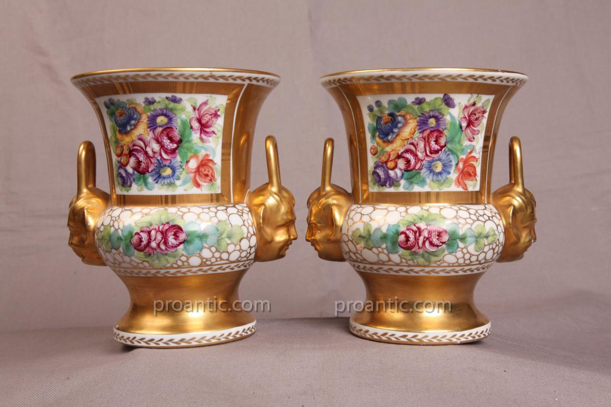 Pair Of Vases Porcelain Vieux Paris For 19th Time