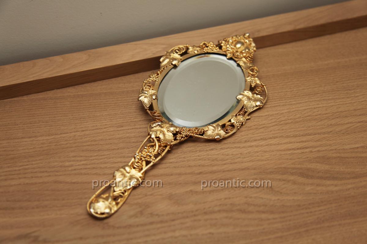 Beau miroir de voyage dor d 39 poque 19 me objets de for Beaux miroirs