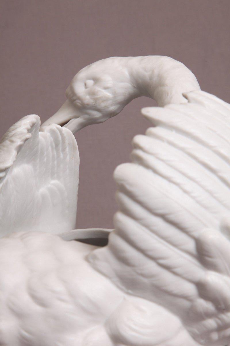 Cygne En Porcelaine De Biscuit d'époque 19ème-photo-1