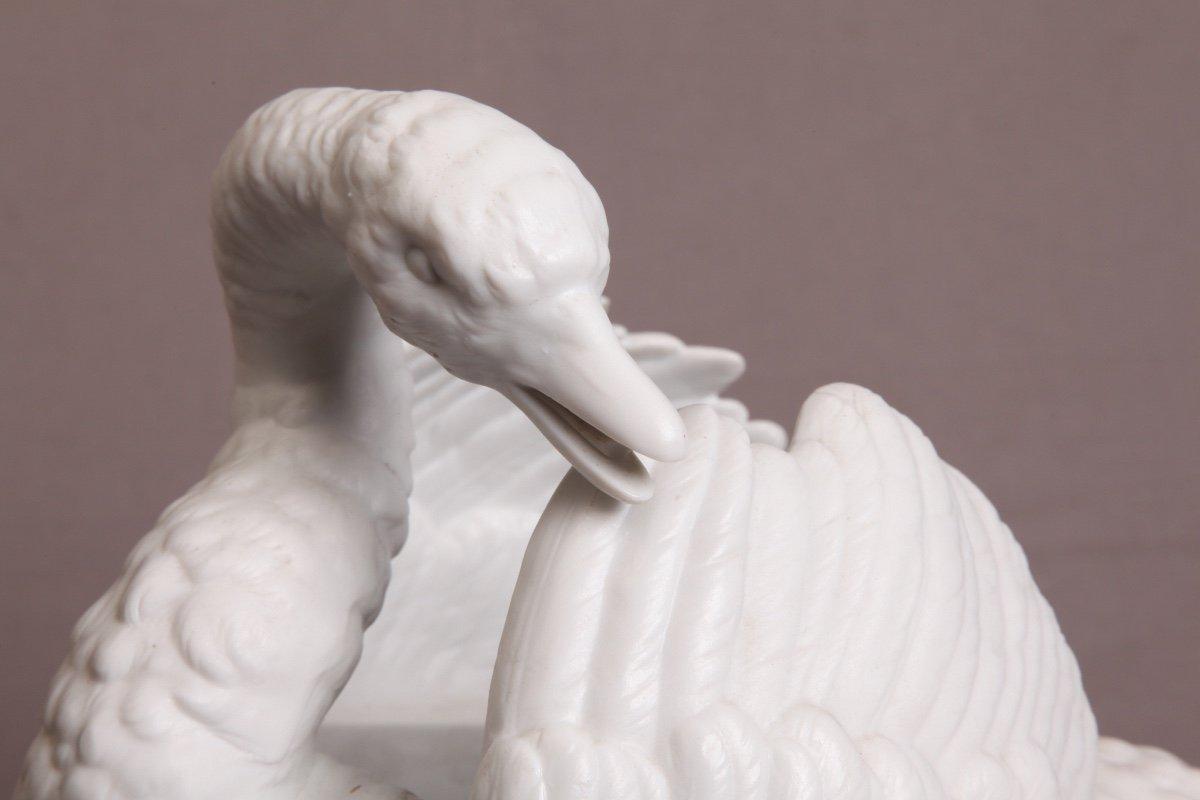Cygne En Porcelaine De Biscuit d'époque 19ème-photo-3