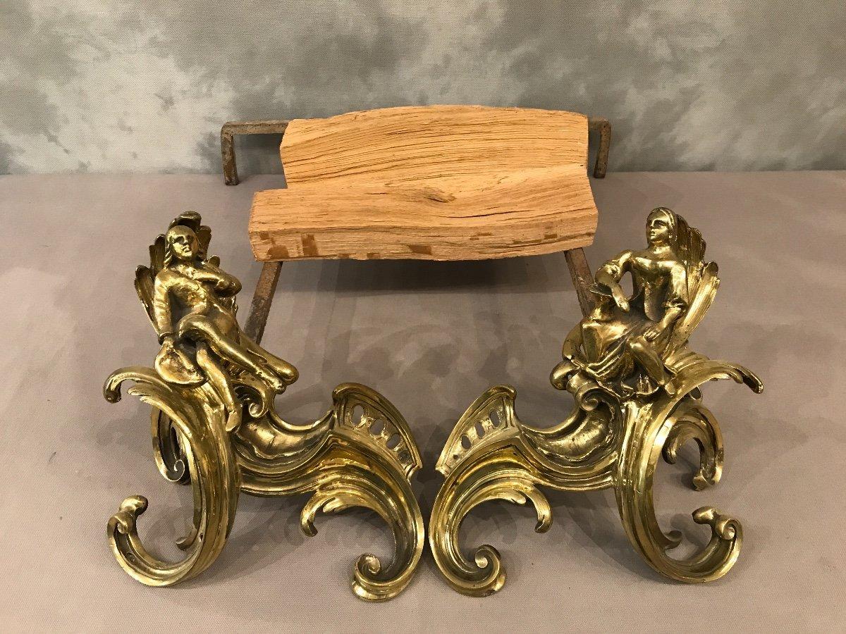 Paire De Chenets anciens En Bronze Louis XV 19ème -photo-2