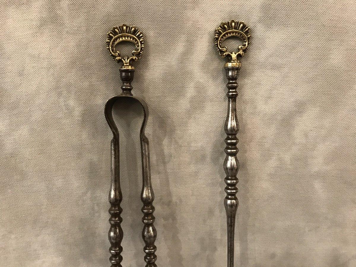 Pelle Et Pince ancienne En Fer Et Bronze d'époque 19ème-photo-2