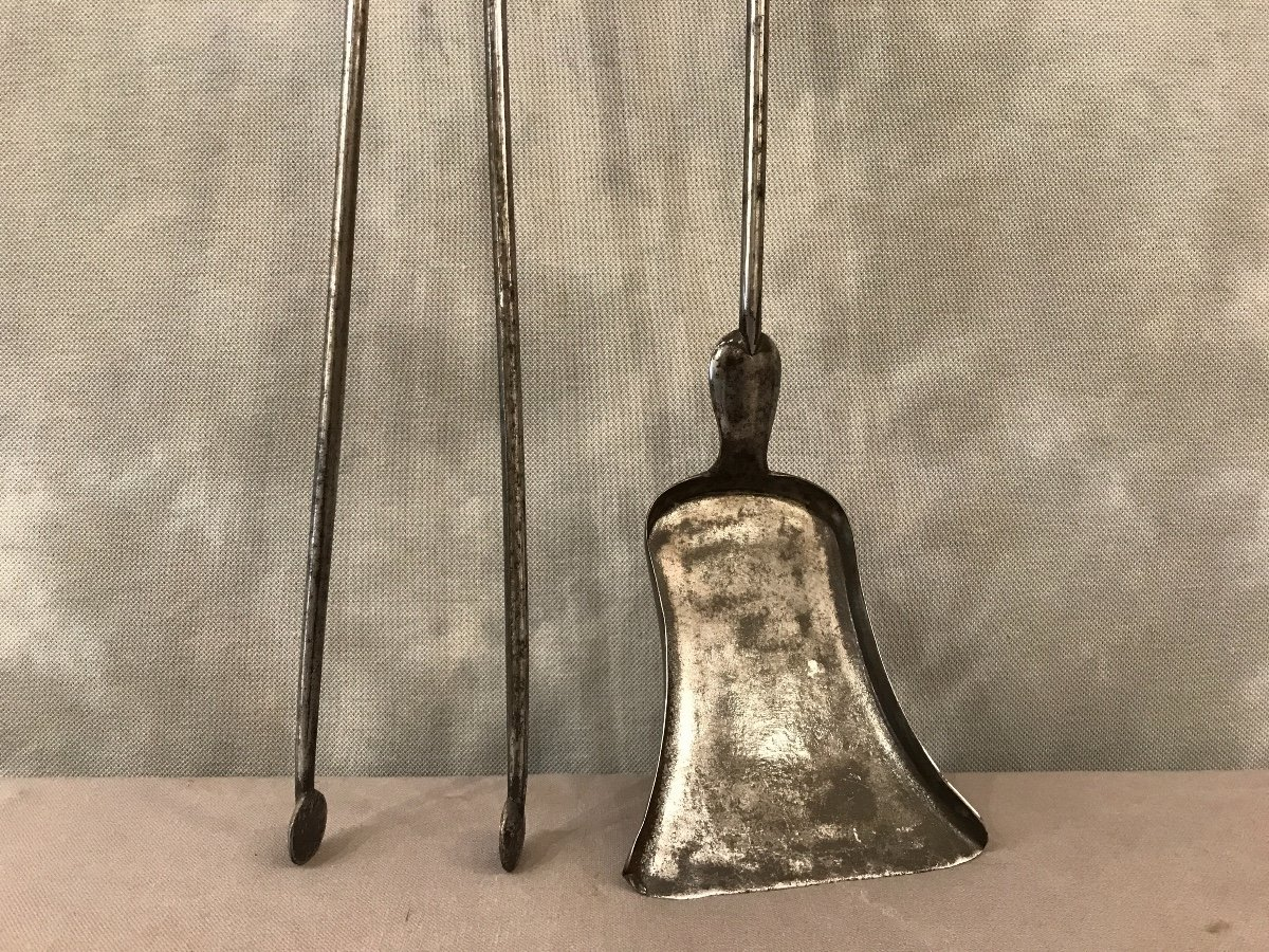 Pelle Et Pince ancienne En Fer Et Bronze d'époque 19ème-photo-3