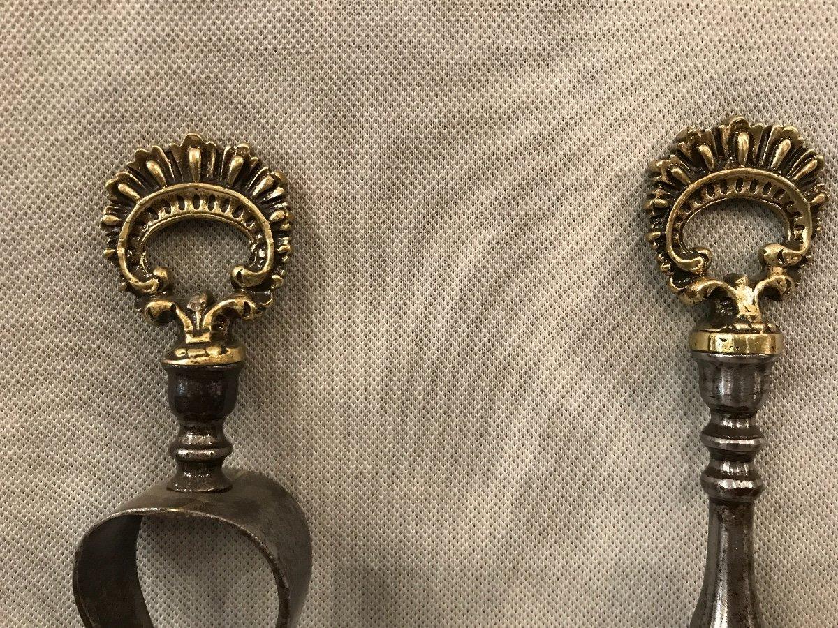 Pelle Et Pince ancienne En Fer Et Bronze d'époque 19ème-photo-4