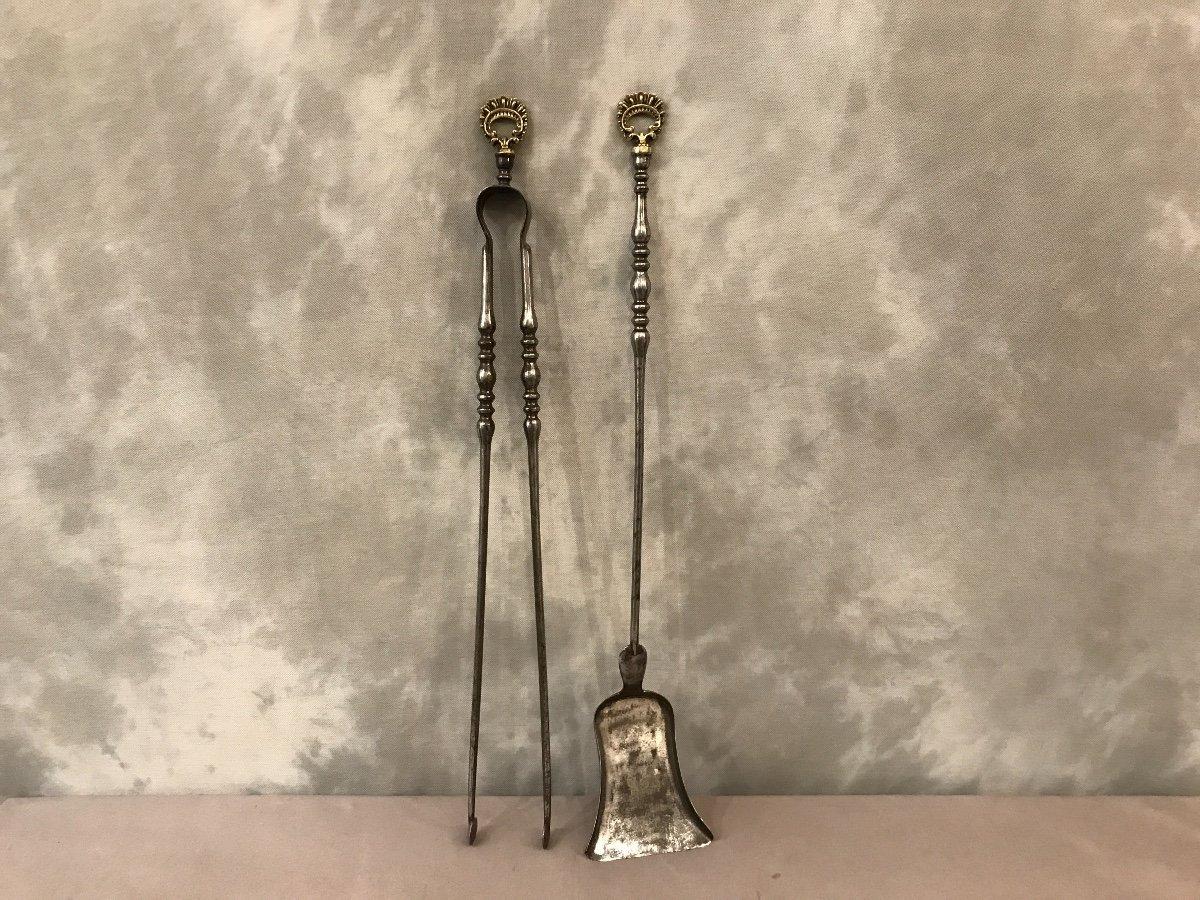 Pelle Et Pince ancienne En Fer Et Bronze d'époque 19ème
