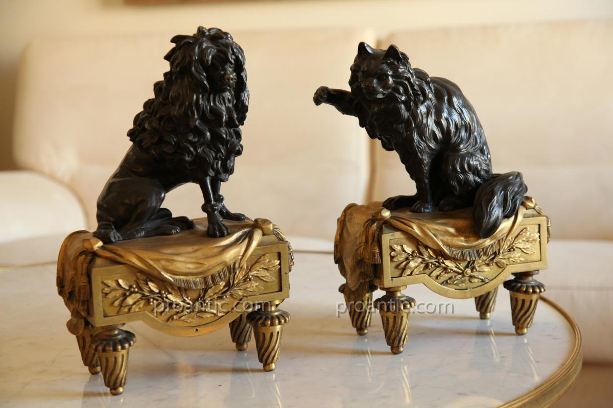 """Pair Of Andirons """"the Dog & The Cat"""" Louis XVI 18th"""