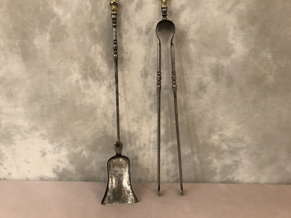 Set Of A Shovel And A Fireplace Clamp In Iron And Bronze 19th Time-photo-3