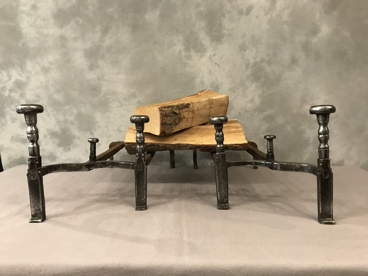 Pair Of Andirons From 18th Century Wrought Iron