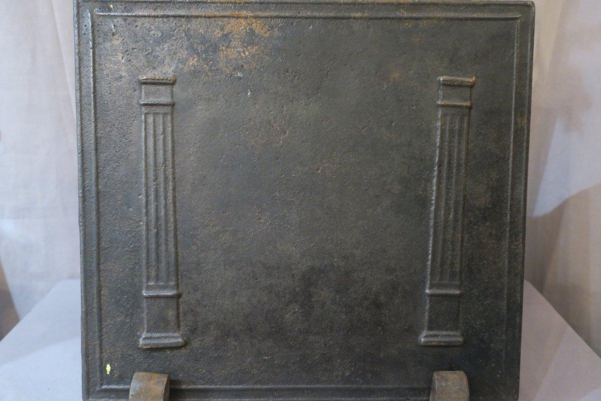 Plaque De Cheminée En Fonte Ancienne d'époque Fin 18ème