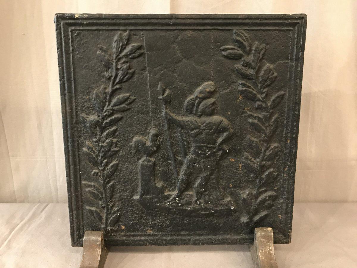 Plaque De Cheminée Ancienne En Fonte D'époque 19ème