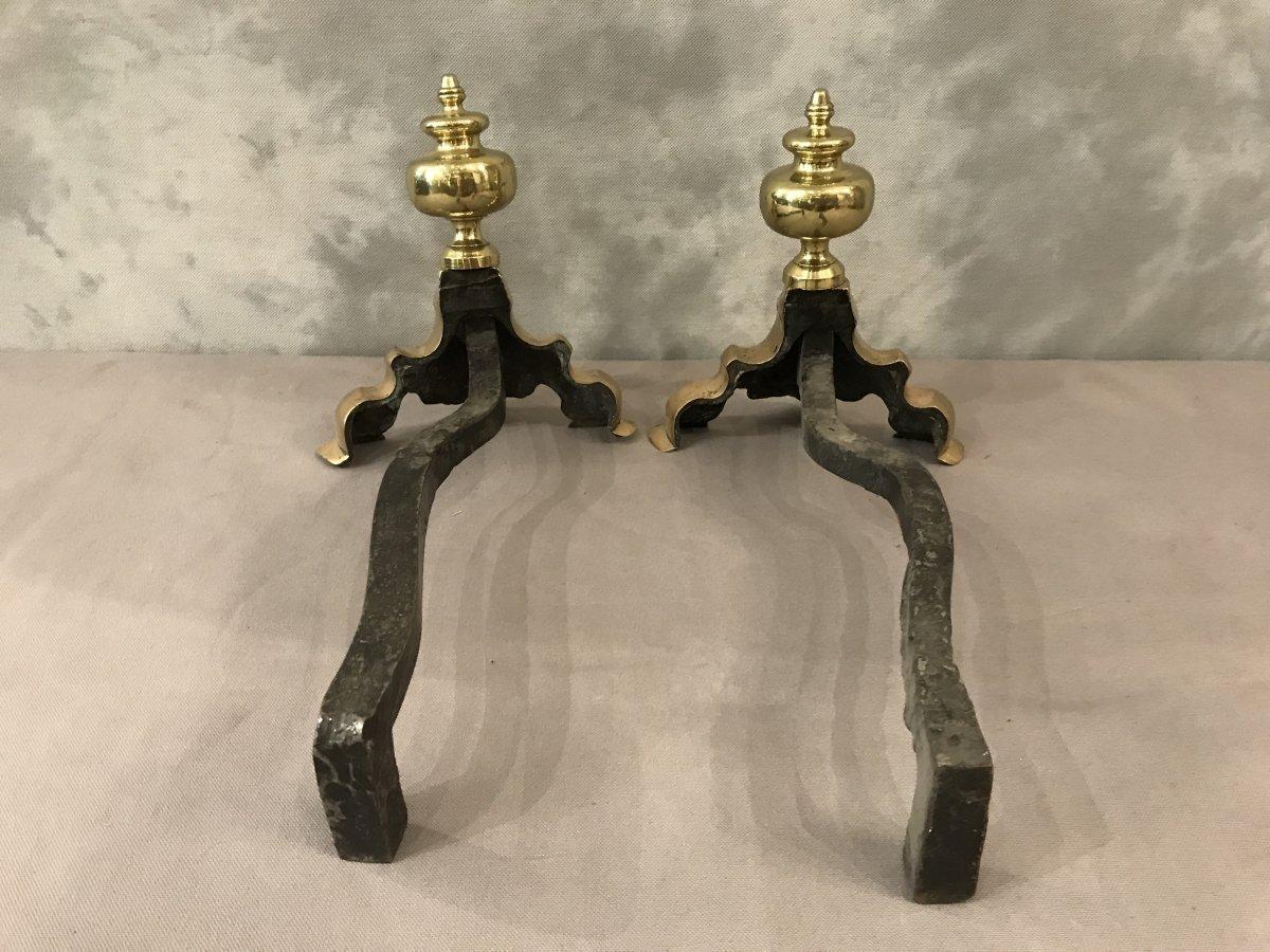 Pair Of 19th Century Brass Andirons-photo-4