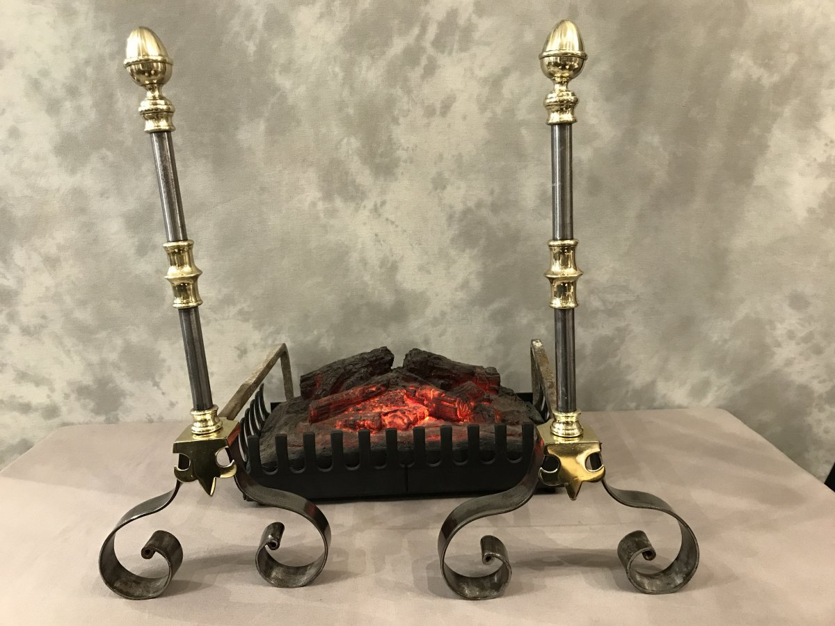 Pair Of Andirons In Iron And Brass 19th From The Bordeaux Region