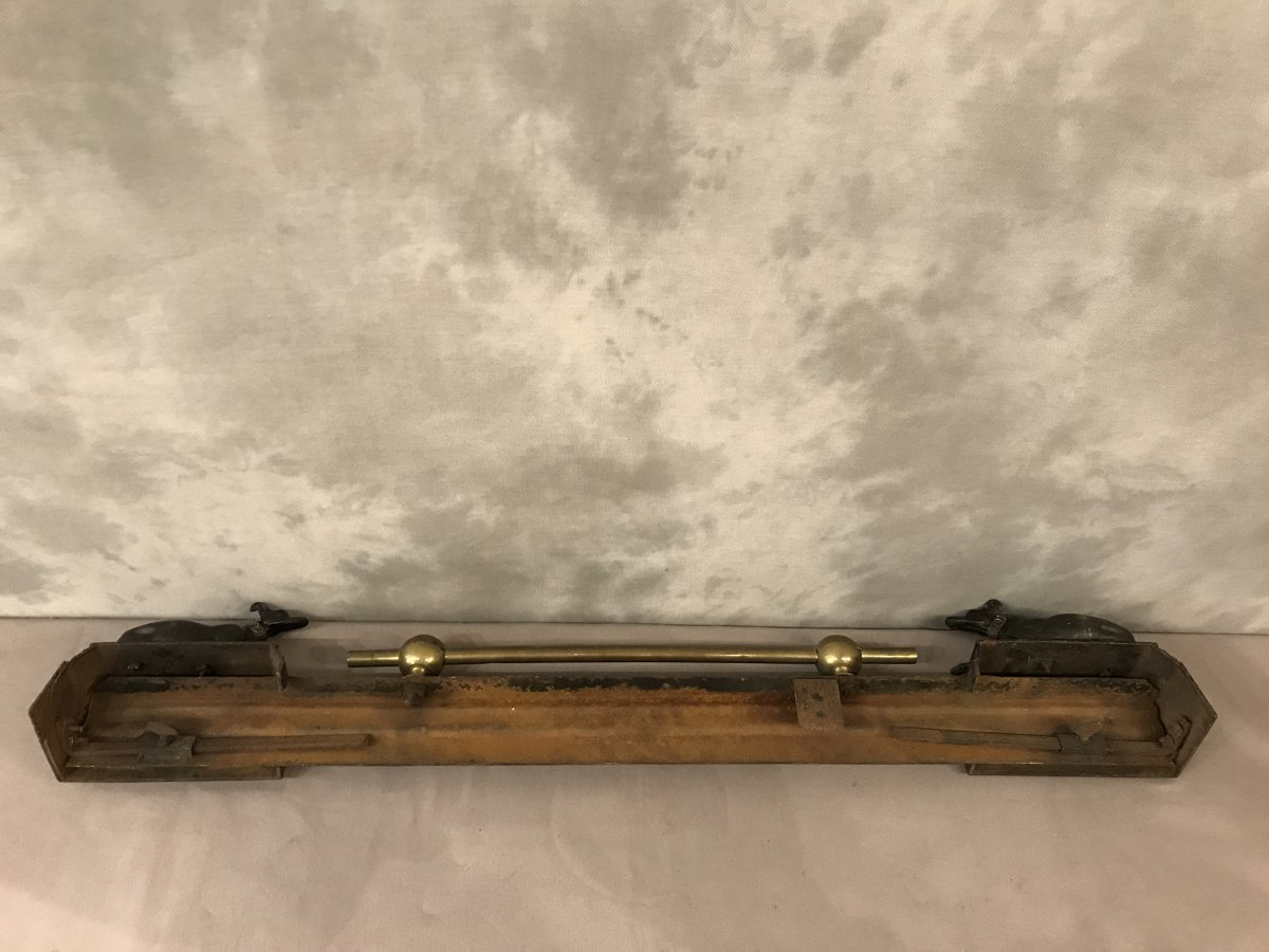 Barre De Foyer Aux Levrettes En Fonte Et Laiton D'époque 19ème -photo-1