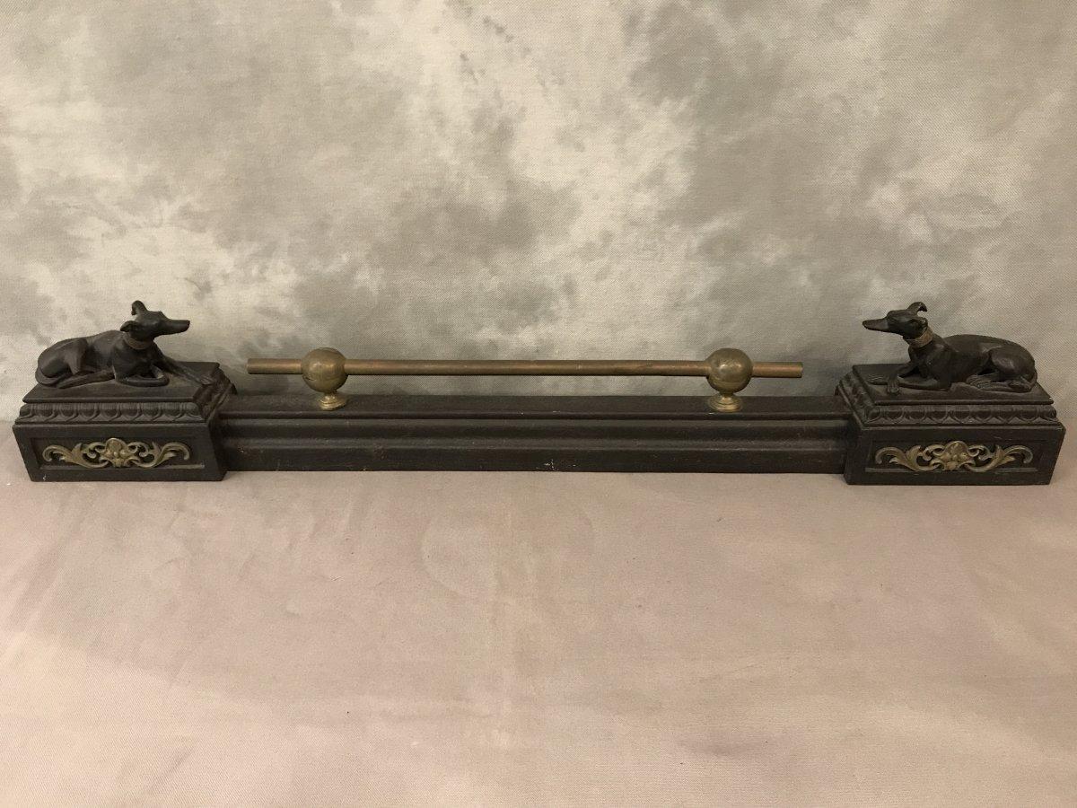 Barre De Foyer Aux Levrettes En Fonte Et Laiton D'époque 19ème